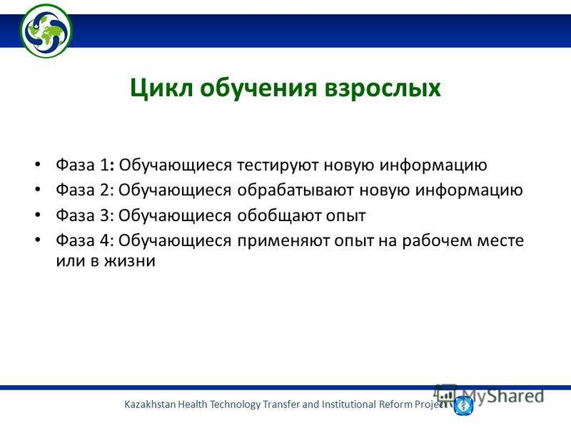 Kazakhstan Health Technology Transfer and Institutional Reform Project Цикл обучения взрослых Фаза 1: Обучающиеся тестируют новую информацию Фаза 2: Обучающиеся обрабатывают новую информацию Фаза 3: Обучающиеся обобщают опыт Фаза 4: Обучающиеся приме