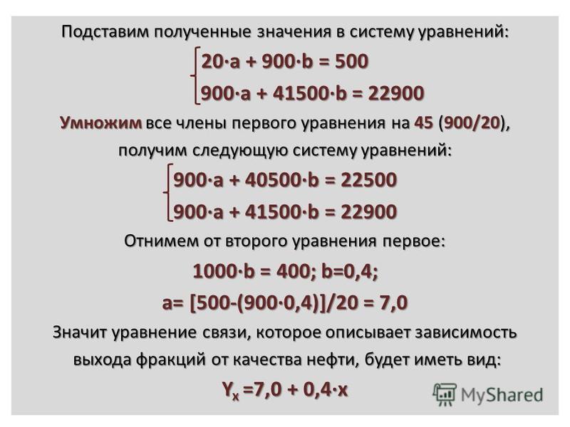 Подставим полученные значения в систему уравнений: 20·a + 900·b = 500 900·a + 41500·b = 22900 900·a + 41500·b = 22900 Умножим все члены первого уравнения на 45 (900/20), получим следующую систему уравнений: 900·a + 40500·b = 22500 900·a + 41500·b = 2