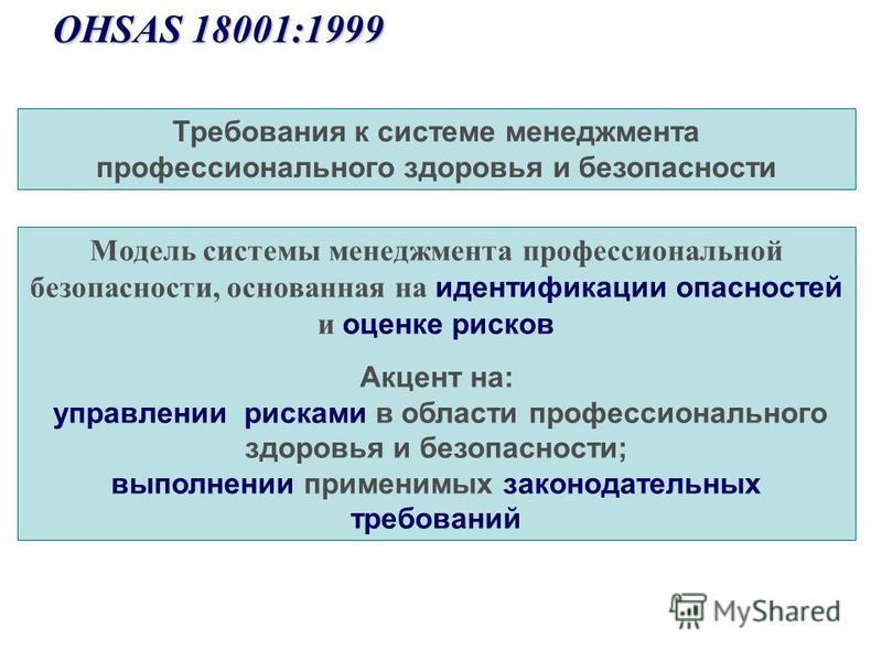 Требования к системе менеджмента профессионального здоровья и безопасности OHSAS 18001:1999 OHSAS 18001:1999 Модель системы менеджмента профессиональной безопасности, основанная на идентификации опасностей и оценке рисков Акцент на: управлении рискам
