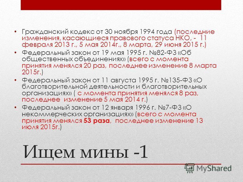Ищем мины -1 Гражданский кодекс от 30 ноября 1994 года (последние изменения, касающиеся правового статуса НКО, - 11 февраля 2013 г., 5 мая 2014 г., 8 марта, 29 июня 2015 г.) Федеральный закон от 19 мая 1995 г. 82-ФЗ «Об общественных объединениях» (вс