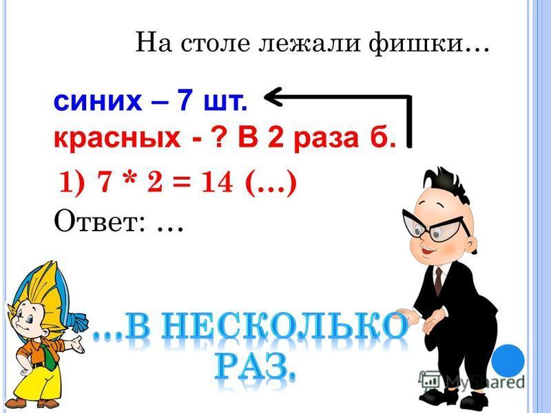 синих – 7 шт. красных - ? В 2 раза б. 1) 7 * 2 = 14 (…) Ответ: … На столе лежали фишки…