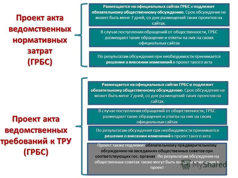 Проект акта ведомственных нормативных затрат (ГРБС) Проект акта ведомственных требований к ТРУ (ГРБС) Размещается на официальных сайтах Размещается на официальных сайтах ГРБС и подлежит обязательному общественному обсуждению. Срок обсуждение не может