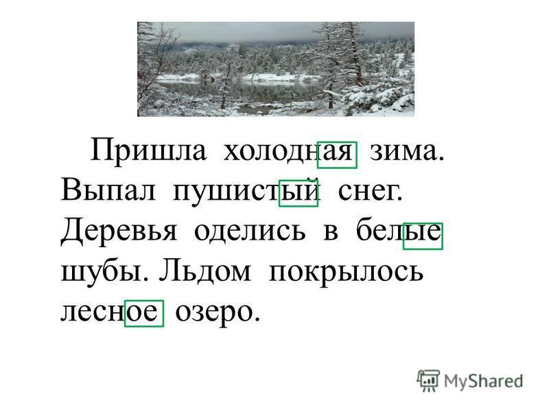 Пришла холоднаяая зима. Выпал пушистой снег. Деревья оделись в белие шубы. Льдом покрылось леснее озеро.
