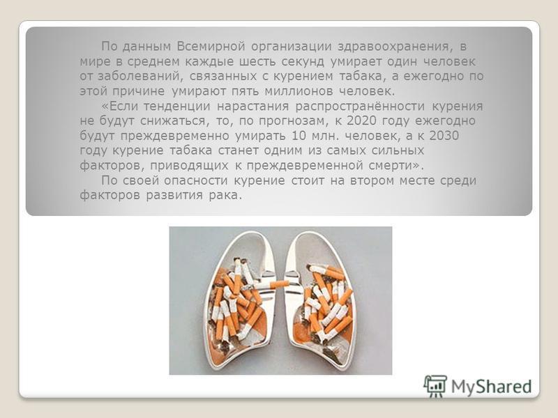По данным Всемирной организации здравоохранения, в мире в среднем каждые шесть секунд умирает один человек от заболеваний, связанных с курением табака, а ежегодно по этой причине умирают пять миллионов человек. «Если тенденции нарастания распространё