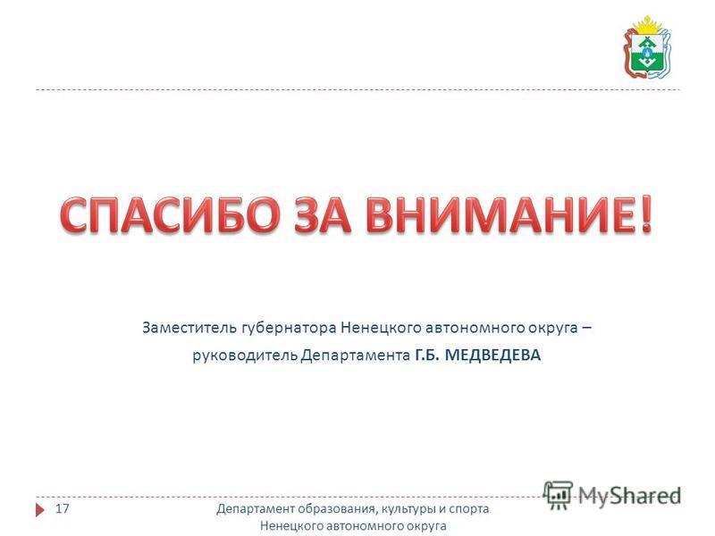 Департамент образования, культуры и спорта Ненецкого автономного округа 17 Заместитель губернатора Ненецкого автономного округа – руководитель Департамента Г. Б. МЕДВЕДЕВА