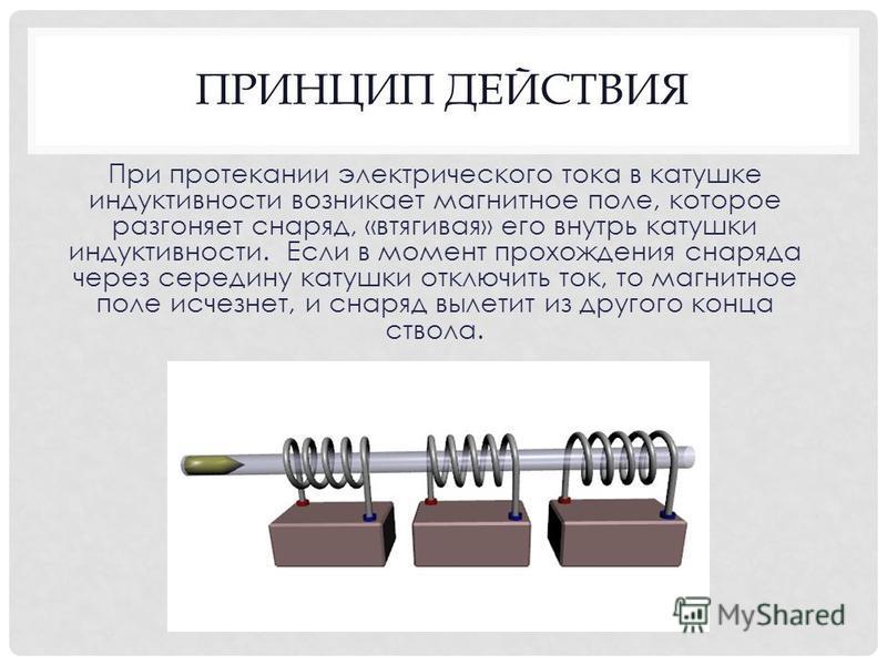 ПРИНЦИП ДЕЙСТВИЯ При протекании электрического тока в катушке индуктивности возникает магнитное поле, которое разгоняет снаряд, «втягивая» его внутрь катушки индуктивности. Если в момент прохождения снаряда через середину катушки отключить ток, то ма