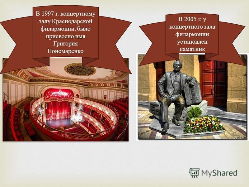 В 1997 г. концертному залу Краснодарской филармонии, было присвоено имя Григория Пономаренко В 2005 г. у концертного зала филармонии установлен памятник