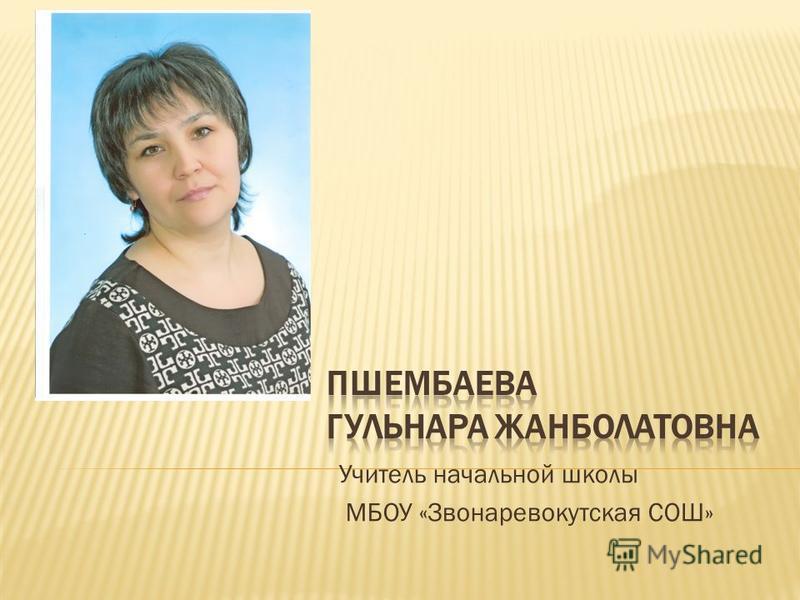 Учитель начальной школы МБОУ «Звонаревокутская СОШ»