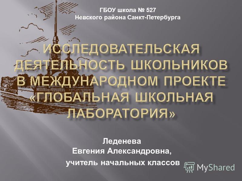 Леденева Евгения Александровна, учитель начальных классов ГБОУ школа 527 Невского района Санкт - Петербурга