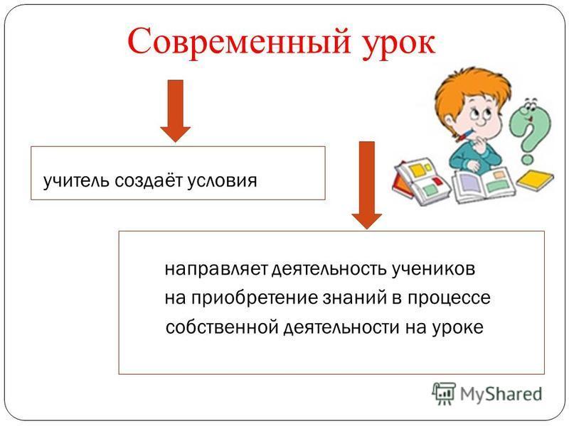 Современный урок учитель создаёт условия направляет деятельность учеников на приобретение знаний в процессе собственной деятельности на уроке