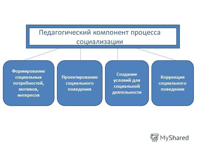 Педагогический компонент процесса социализации Формирование социальных потребностей, мотивов, интересов Проектирование социального поведения Создание условий для социальной деятельности Коррекция социального поведения