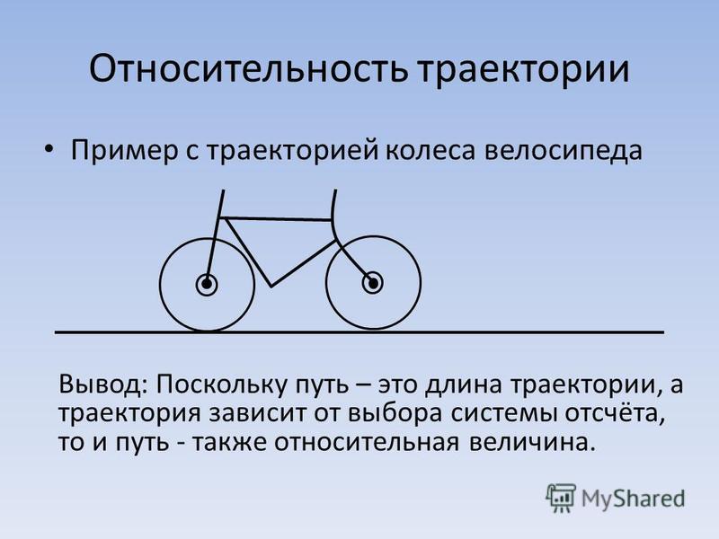 Относительность траектории Пример с траекторией колеса велосипеда Вывод: Поскольку путь – это длина траектории, а траектория зависит от выбора системы отсчёта, то и путь - также относительная величина.