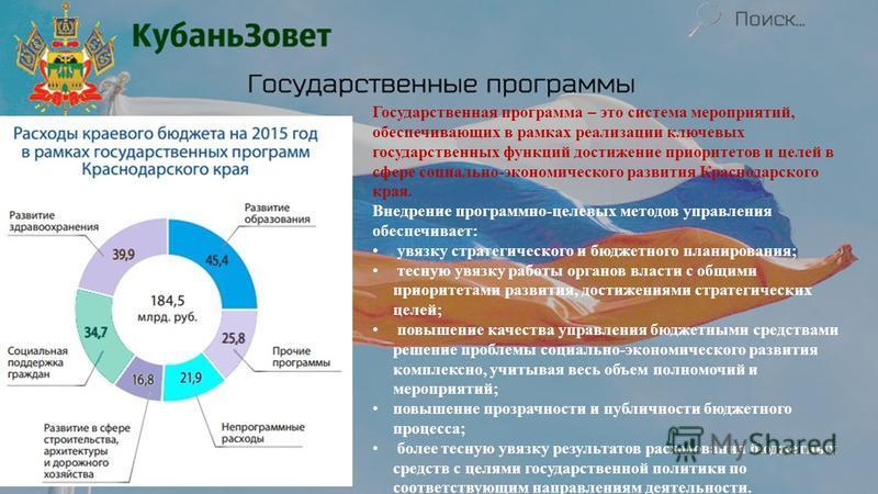 Государственная программа – это система мероприятий, обеспечивающих в рамках реализации ключевых государственных функций достижение приоритетов и целей в сфере социально-экономического развития Краснодарского края. Внедрение программно-целевых методо