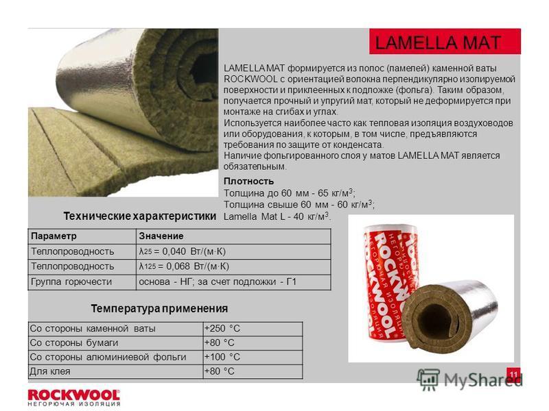 11 LAMELLA MAT LAMELLA MAT формируется из полос (ламелей) каменной ваты ROCKWOOL с ориентацией волокна перпендикулярно изолируемой поверхности и приклеенных к подложке (фольга). Таким образом, получается прочный и упругий мат, который не деформируетс