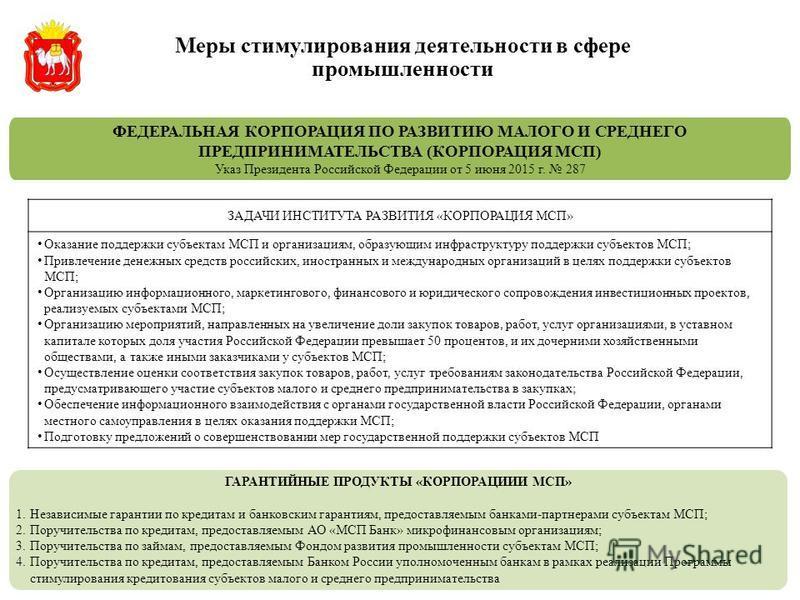 ФЕДЕРАЛЬНАЯ КОРПОРАЦИЯ ПО РАЗВИТИЮ МАЛОГО И СРЕДНЕГО ПРЕДПРИНИМАТЕЛЬСТВА (КОРПОРАЦИЯ МСП) Указ Президента Российской Федерации от 5 июня 2015 г. 287 ЗАДАЧИ ИНСТИТУТА РАЗВИТИЯ «КОРПОРАЦИЯ МСП» Оказание поддержки субъектам МСП и организациям, образующи