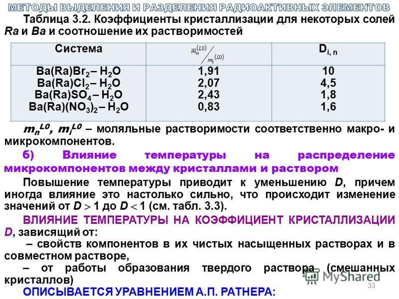 33 Таблица 3.2. Коэффициенты кристаллизации для некоторых солей Ra и Ba и соотношение их растворимостей СистемаD i, n Ba(Ra)Br 2 – H 2 O Ba(Ra)Cl 2 – H 2 O Ba(Ra)SO 4 – H 2 O Ba(Ra)(NO 3 ) 2 – H 2 O 1,91 2,07 2,43 0,83 10 4,5 1,8 1,6 m n L0, m i L0 –