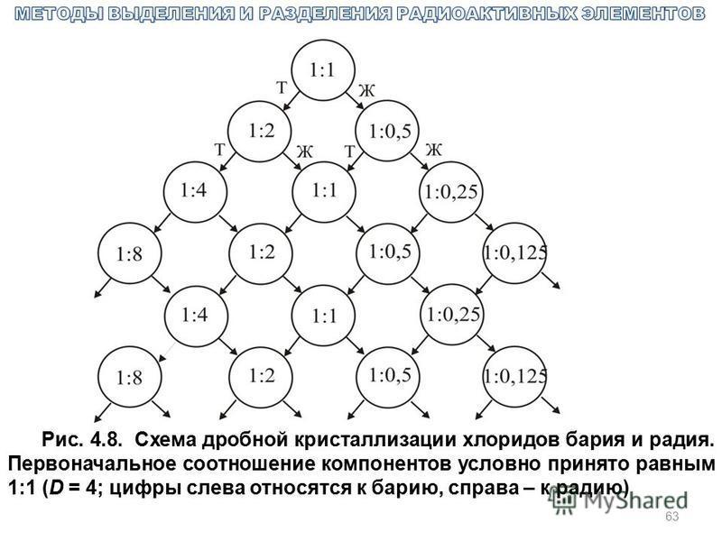 63 Рис. 4.8. Схема дробной кристаллизации хлоридов бария и радия. Первоначальное соотношение компонентов условно принято равным 1:1 (D = 4; цифры слева относятся к барию, справа – к радию)