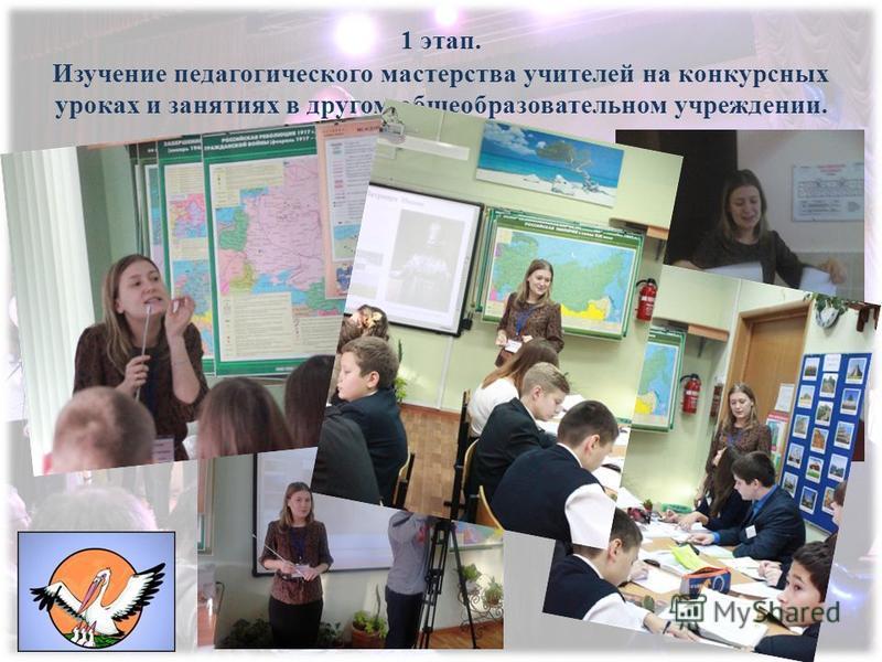 1 этап. Изучение педагогического мастерства учителей на конкурсных уроках и занятиях в другом общеобразовательном учреждении.