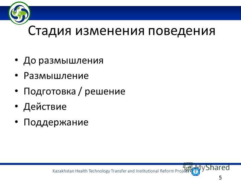 Kazakhstan Health Technology Transfer and Institutional Reform Project 5 Стадия изменения поведения До размышления Размышление Подготовка / решение Действие Поддержание