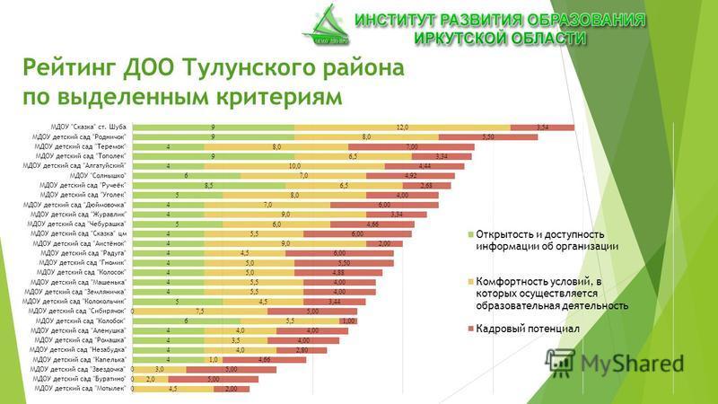 Рейтинг ДОО Тулунского района по выделенным критериям