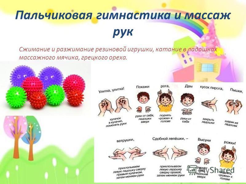 Пальчиковая гимнастика и массаж рук Сжимание и разжимание резиновой игрушки, катание в ладошках массажного мячика, грецкого ореха.