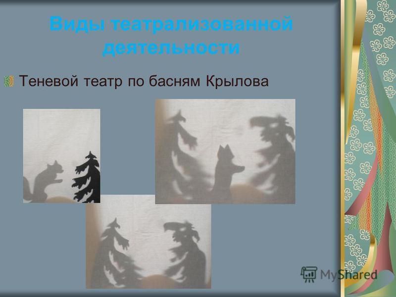 Виды театрализованной деятельности Теневой театр по басням Крылова