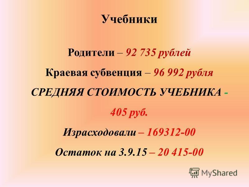 Учебники Родители – 92 735 рублей Краевая субвенция – 96 992 рубля СРЕДНЯЯ СТОИМОСТЬ УЧЕБНИКА - 405 руб. Израсходовали – 169312-00 Остаток на 3.9.15 – 20 415-00
