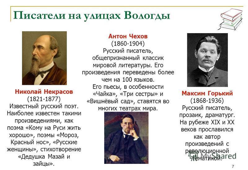 7 Писатели на улицах Вологды Антон Чехов (1860-1904) Русский писатель, общепризнанный классик мировой литературы. Его произведения переведены более чем на 100 языков. Его пьесы, в особенности «Чайка», «Три сестры» и «Вишнёвый сад», ставятся во многих
