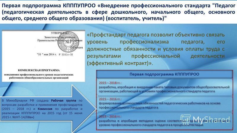 Первая подпрограмма КПППУПРОО «Внедрение профессионального стандарта