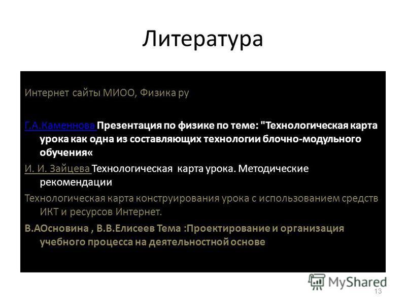 Литература Интернет сайты МИОО, Физика ру Г.А.Каменнова Г.А.Каменнова Презентация по физике по теме: