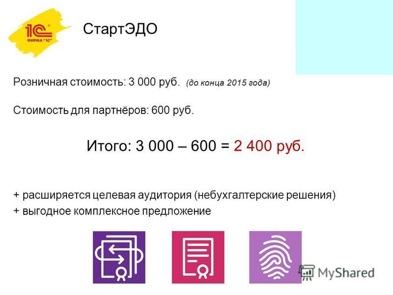 СтартЭДО Розничная стоимость: 3 000 руб. (до конца 2015 года) Стоимость для партнёров: 600 руб. Итого: 3 000 – 600 = 2 400 руб. + расширяется целевая аудитория (небухгалтерские решения) + выгодное комплексное предложение