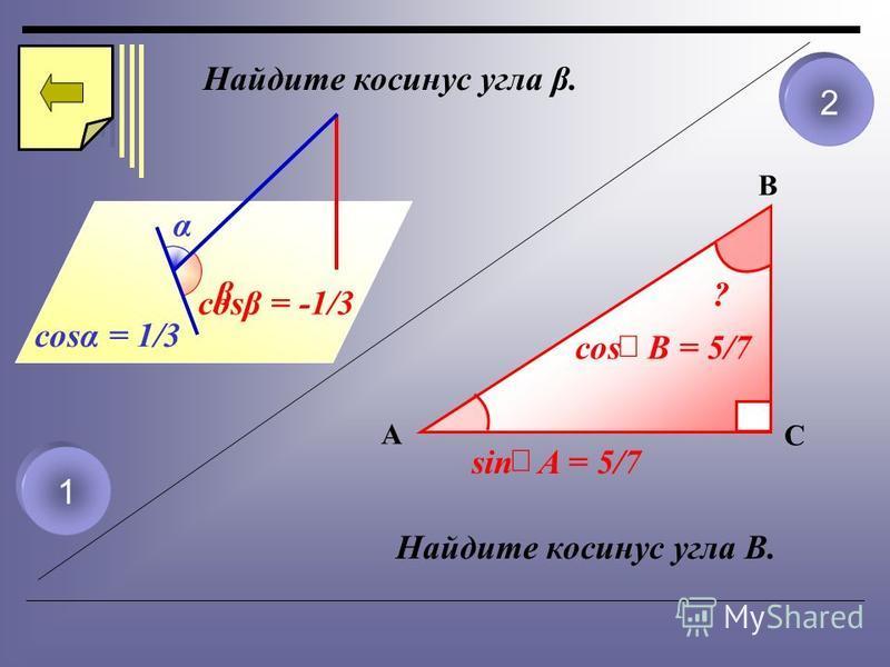 Найдите косинус угла β. α cost = 1/3 1 2 β cosβ = -1/3 Найдите косинус угла B. A B C sin A = 5/7 ? cos B = 5/7