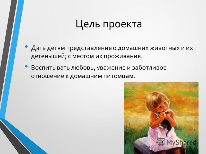 Цель проекта Дать детям представление о домашних животных и их детенышей; с местом их проживания. Воспитывать любовь, уважение и заботливое отношение к домашним питомцам.