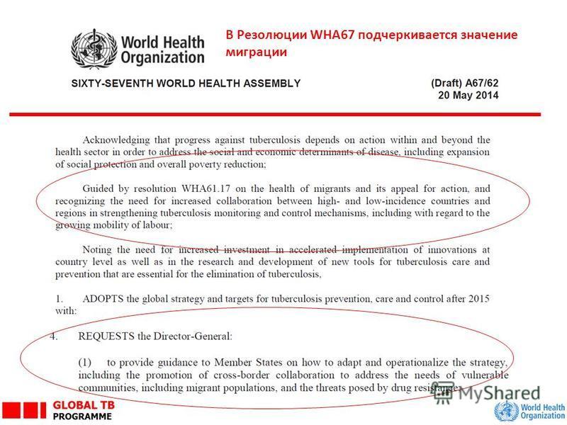 В Резолюции WHA67 подчеркивается значение миграции
