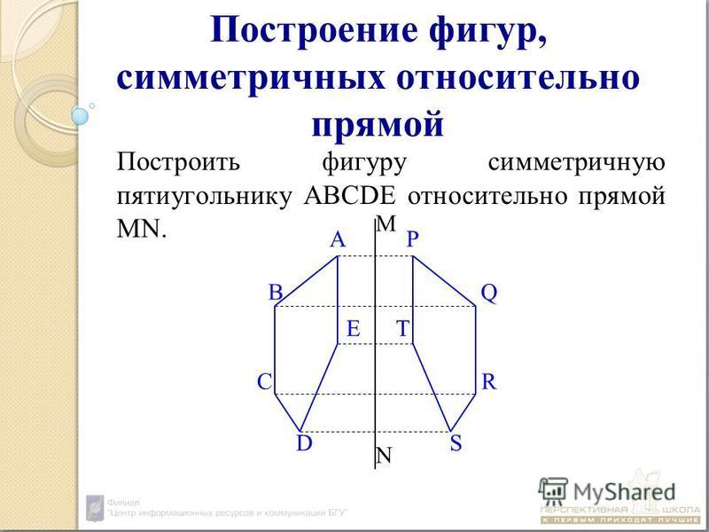 Построение фигур, симметричных относительно прямой Построить фигуру симметричную пятиугольнику ABCDE относительно прямой MN. А Р ВQВQ C R D S E T M N