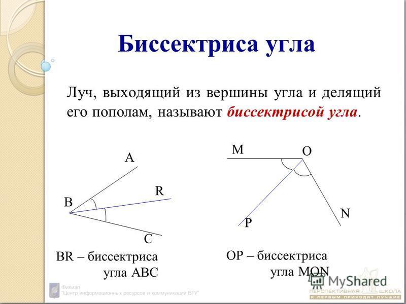 Биссектриса угла Луч, выходящий из вершины угла и делящий его пополам, называют биссектрисой угла. А В С R M О N P BR – биссектриса угла АВС ОР – биссектриса угла МОN