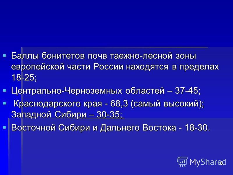 Баллы бонитетов почв таежно-лесной зоны европейской части России находятся в пределах 18-25; Баллы бонитетов почв таежно-лесной зоны европейской части России находятся в пределах 18-25; Центрально-Черноземных областей – 37-45; Центрально-Черноземных