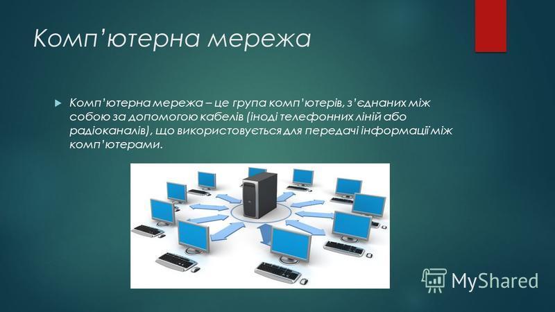 Компютерна мережа Компютерна мережа – це група компютерів, зєднаних між собою за допомогою кабелів (іноді телефонних ліній або радіоканалів), що використовується для передачі інформації між компютерами.