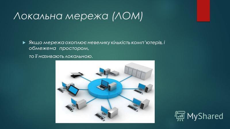 Локальна мережа (ЛОМ) Якщо мережа охоплює невелику кількість компютерів, і обмежена простором, то її називають локальною.