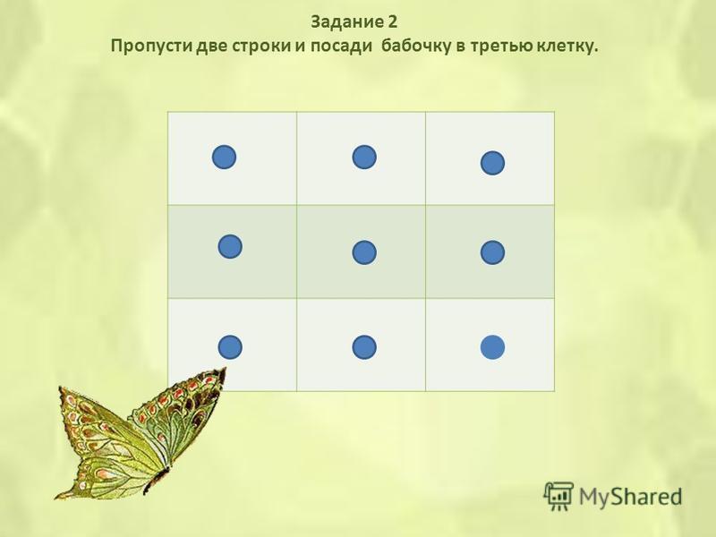 Задание 1 Бабочка летает по полю, садится на первую строку во вторую клетку