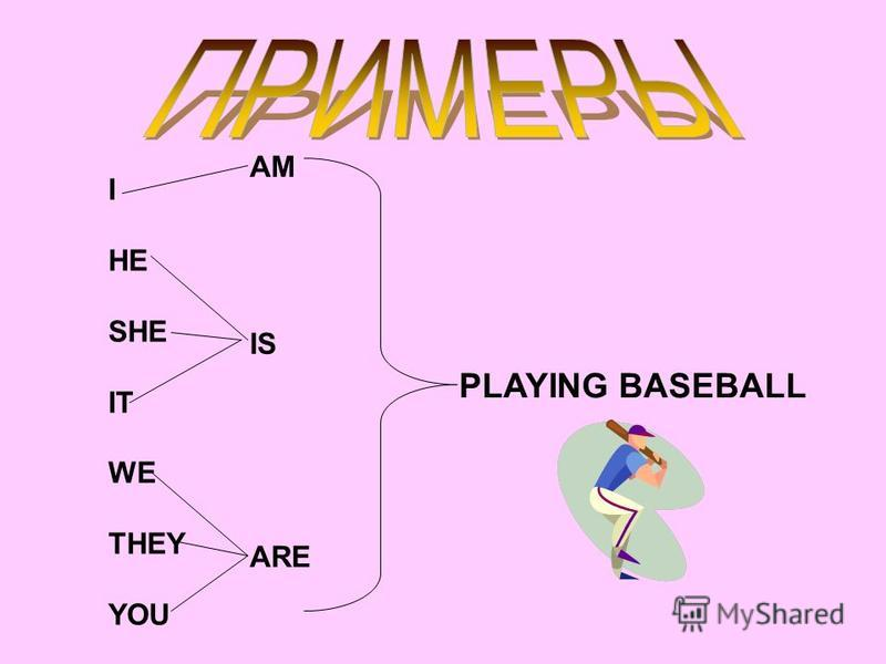 I HE SHE IT WE THEY YOU AM IS ARE PLAYING BASEBALL