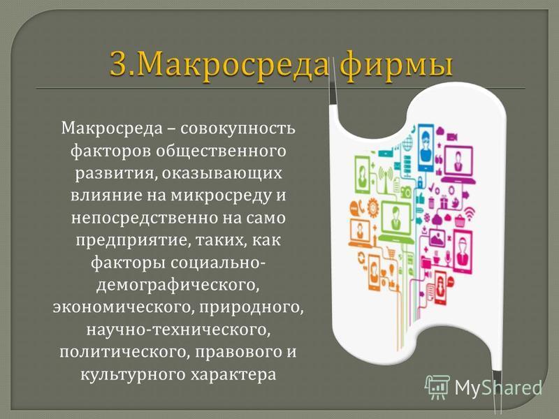 Макросреда – совокупность факторов общественного развития, оказывающих влияние на микросреду и непосредственно на само предприятие, таких, как факторы социально - демографического, экономического, природного, научно - технического, политического, пра