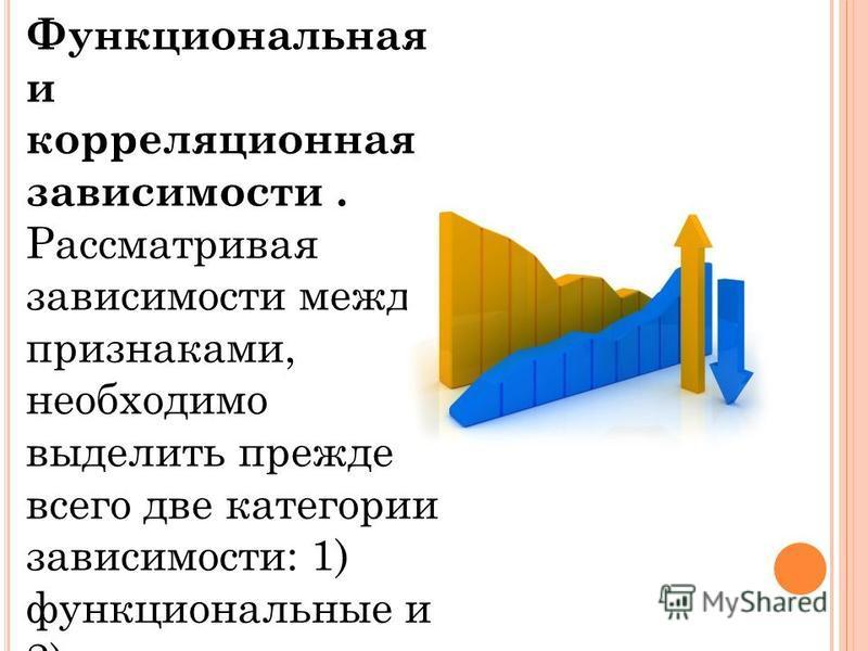 Функциональная и корреляцииионная зависимости. Рассматривая зависимости между признаками, необходимо выделить прежде всего две категории зависимости: 1) функциональные и 2) корреляцииионные.