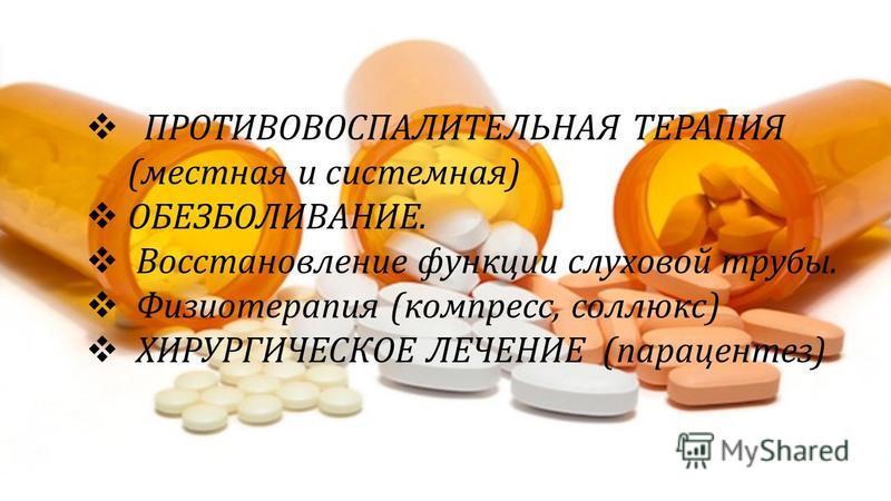 ПРОТИВОВОСПАЛИТЕЛЬНАЯ ТЕРАПИЯ (местная и системная) ОБЕЗБОЛИВАНИЕ. Восстановление функции слуховой трубы. Физиотерапия (компресс, соллюкс) ХИРУРГИЧЕСКОЕ ЛЕЧЕНИЕ (парацентез)