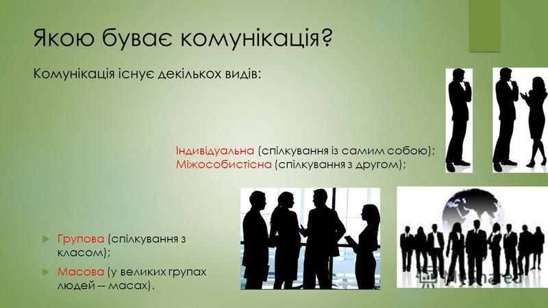 Якою буває комунікація? Групова (спілкування з класом); Масова (у великих групах людей -- масах). Комунікація існує декількох видів: Індивідуальна (спілкування із самим собою); Міжособистісна (спілкування з другом);