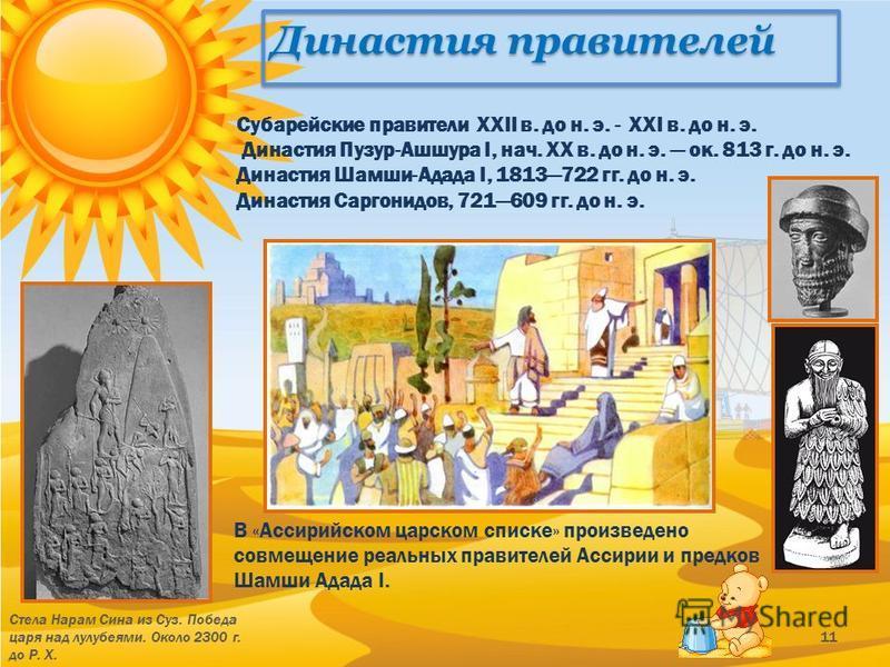 Династия правителей Стела Нарам Сина из Суз. Победа царя над лулубеями. Около 2300 г. до Р. Х. 11 Субарейские правители XXII в. до н. э. - XXI в. до н. э. Династия Пузур-Ашшура I, нач. XX в. до н. э. ок. 813 г. до н. э. Династия Шамши-Адада I, 181372