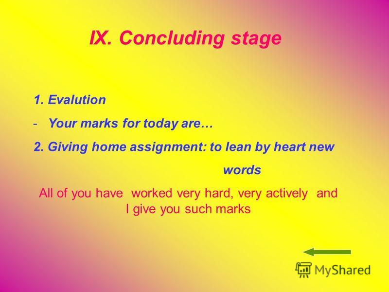 IX. Concluding stage 1.Evalution -Your marks for today are… 2. Giving home assignment: to lean by heart new words All of you have worked very hard, very actively and I give you such marks