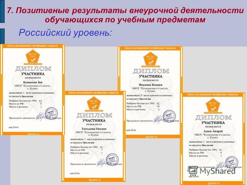 7. Позитивные результаты внеурочной деятельности обучающихся по учебным предметам Российский уровень: