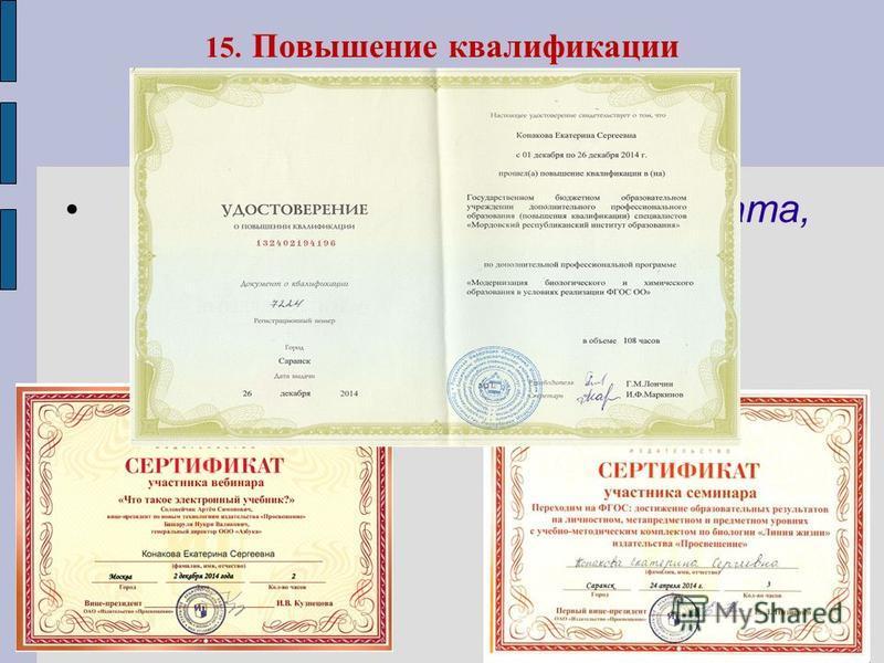 15. Повышение квалификации Наименование курсов, место, дата, количество часов, данные сертификата