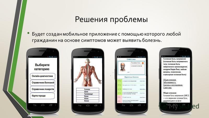 Решения проблемы Будет создан мобильное приложение с помощью которого любой гражданин на основе симптомов может выявить болезнь.